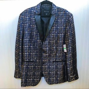 INC Black Metallic Slim Fit Dressy Party Blazer Lg